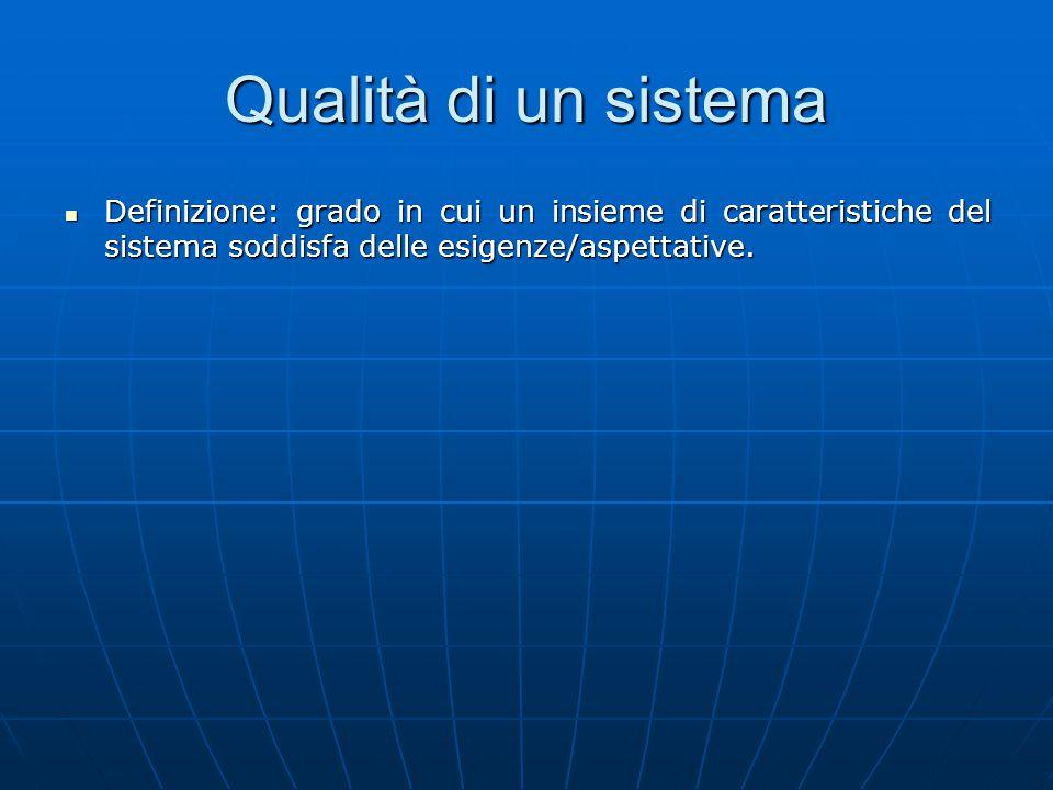 Qualità di un sistema Definizione: grado in cui un insieme di caratteristiche del sistema soddisfa delle esigenze/aspettative.