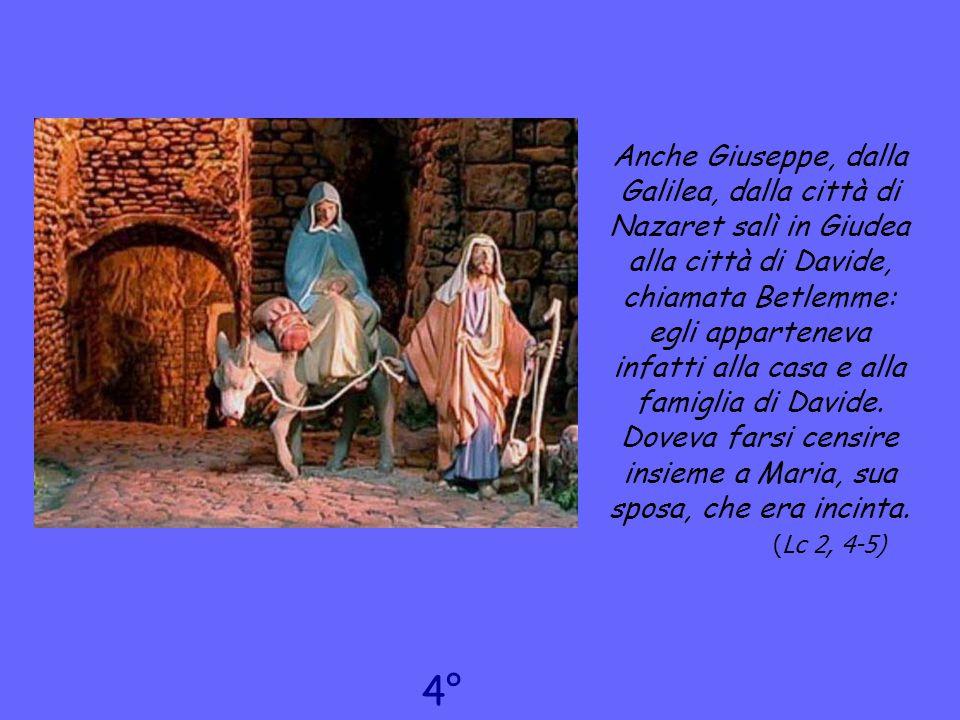 Anche Giuseppe, dalla Galilea, dalla città di Nazaret salì in Giudea alla città di Davide, chiamata Betlemme: egli apparteneva infatti alla casa e alla famiglia di Davide. Doveva farsi censire insieme a Maria, sua sposa, che era incinta. (Lc 2, 4-5)