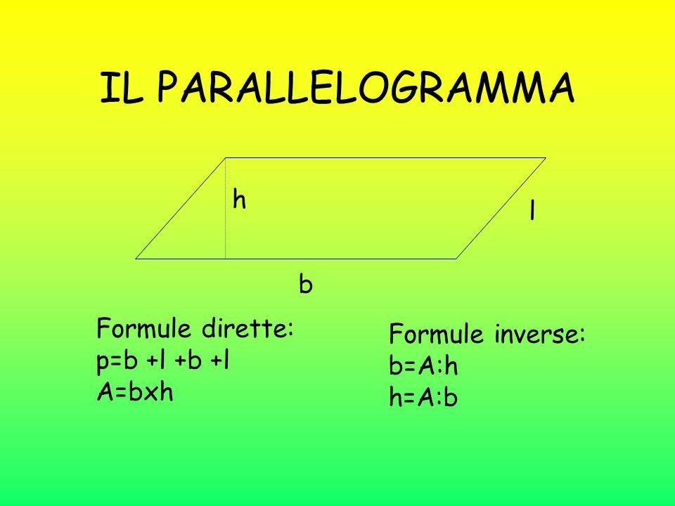 IL PARALLELOGRAMMA h l b Formule dirette: Formule inverse: