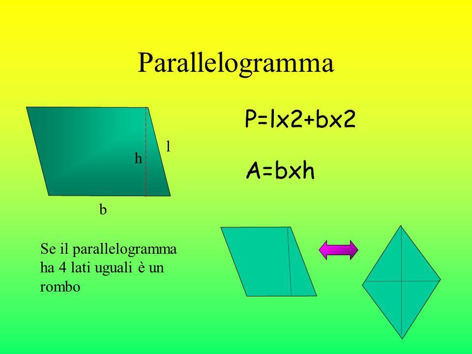 Parallelogramma P=lx2+bx2 A=bxh l h b