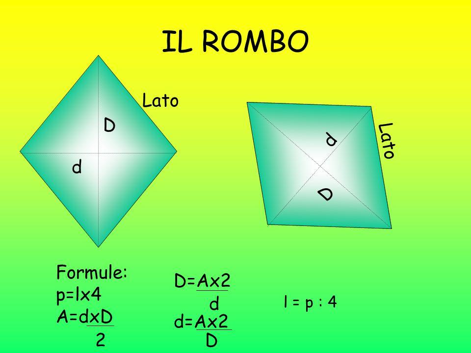 IL ROMBO Lato D d Lato d D Formule: p=lx4 A=dxD D=Ax2 d d=Ax2 2 D