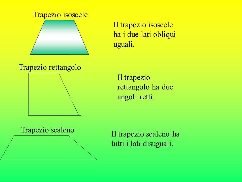 Trapezio isoscele Il trapezio isoscele ha i due lati obliqui uguali. Trapezio rettangolo. Il trapezio rettangolo ha due angoli retti.