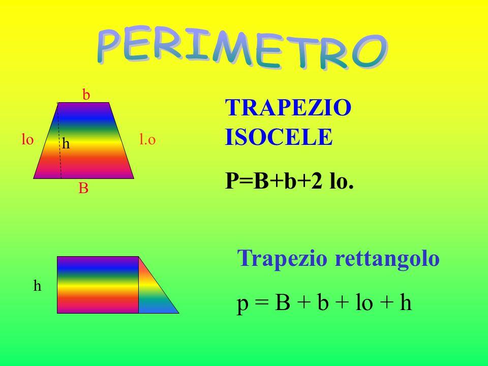 PERIMETRO TRAPEZIO ISOCELE P=B+b+2 lo. Trapezio rettangolo