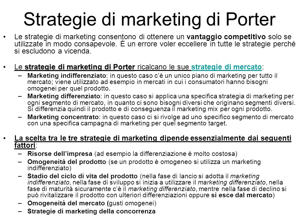Strategie di marketing di Porter
