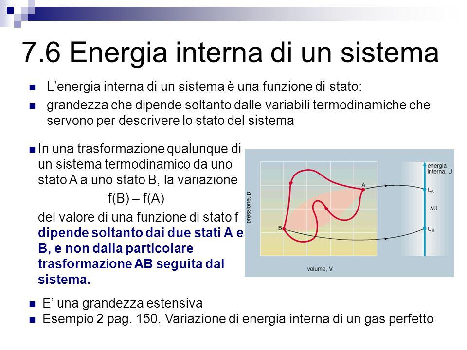 7.6 Energia interna di un sistema