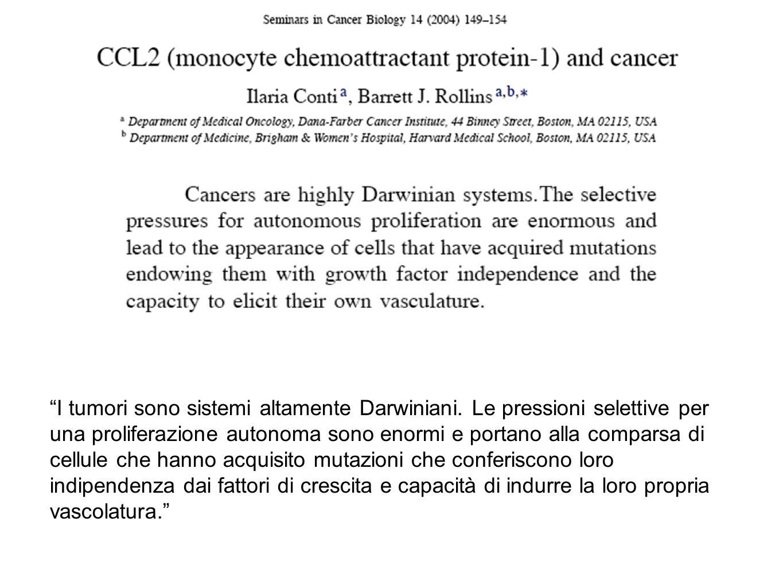 I tumori sono sistemi altamente Darwiniani