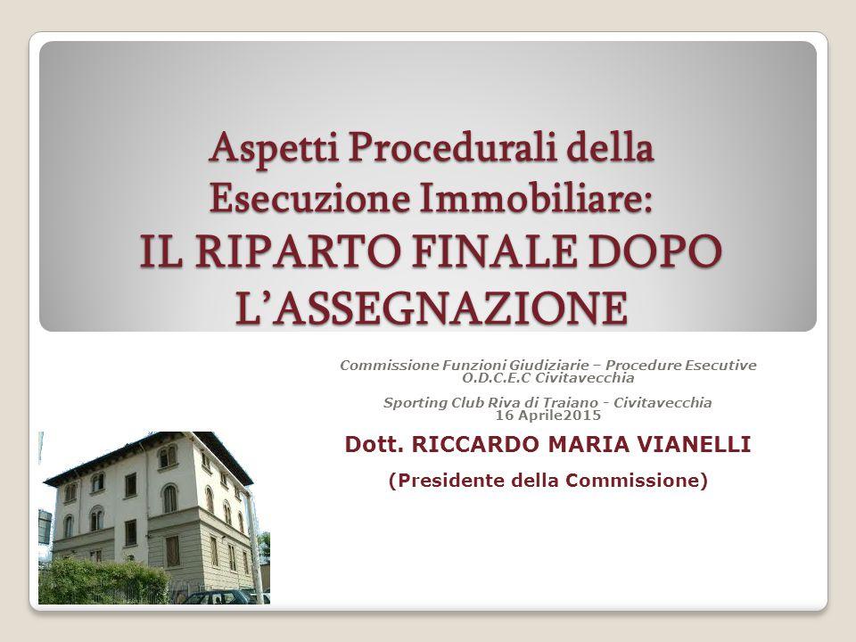 Aspetti Procedurali della Esecuzione Immobiliare: IL RIPARTO FINALE DOPO L'ASSEGNAZIONE