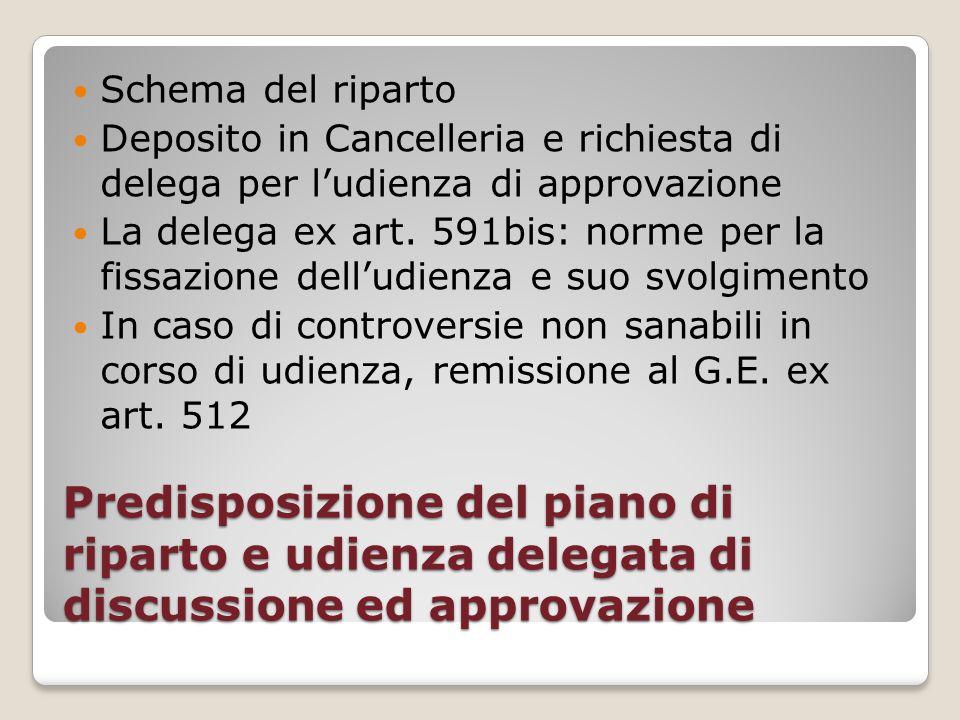 Schema del riparto Deposito in Cancelleria e richiesta di delega per l'udienza di approvazione.