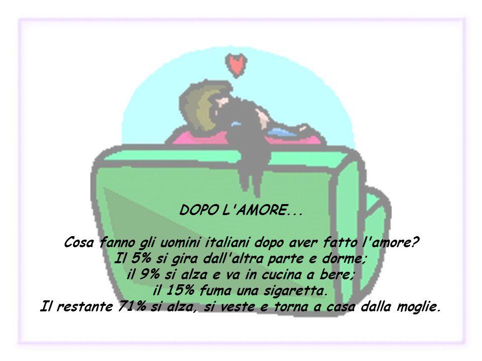 DOPO L AMORE. Cosa fanno gli uomini italiani dopo aver fatto l amore
