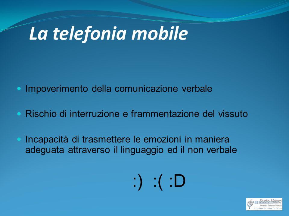 La telefonia mobile Impoverimento della comunicazione verbale