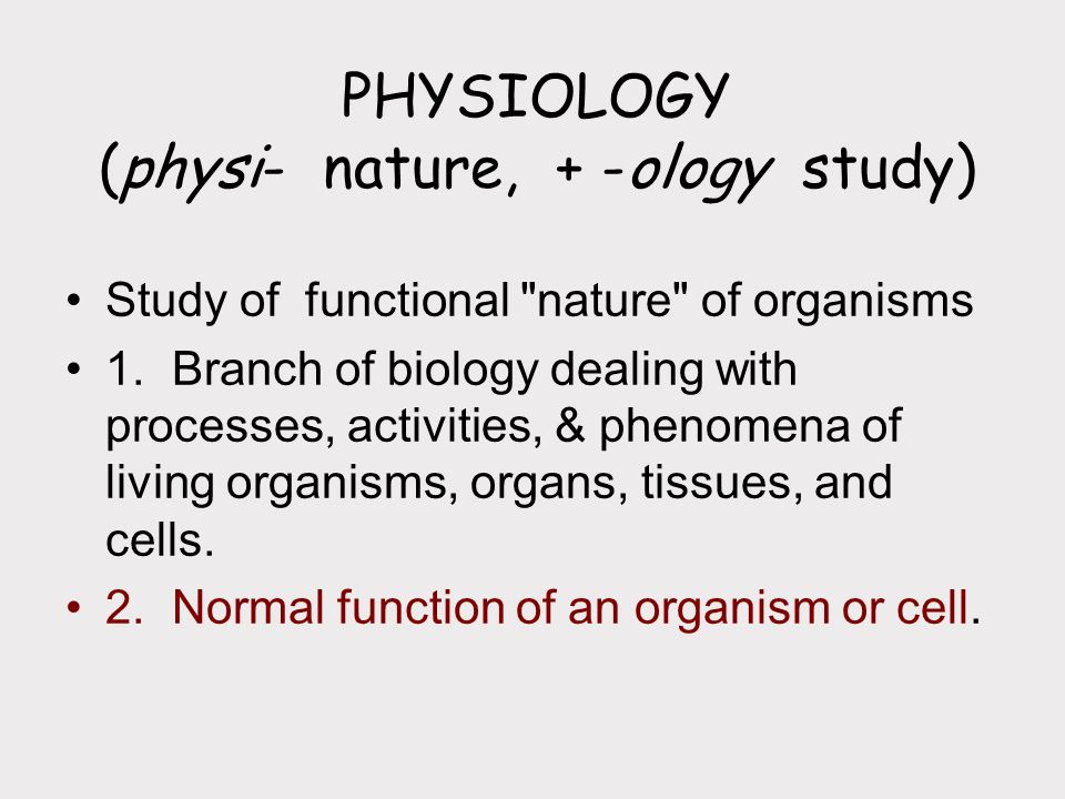 PHYSIOLOGY (physi- nature, + -ology study)