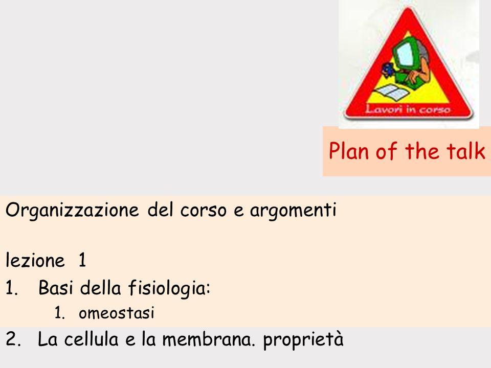 Plan of the talk Organizzazione del corso e argomenti lezione 1
