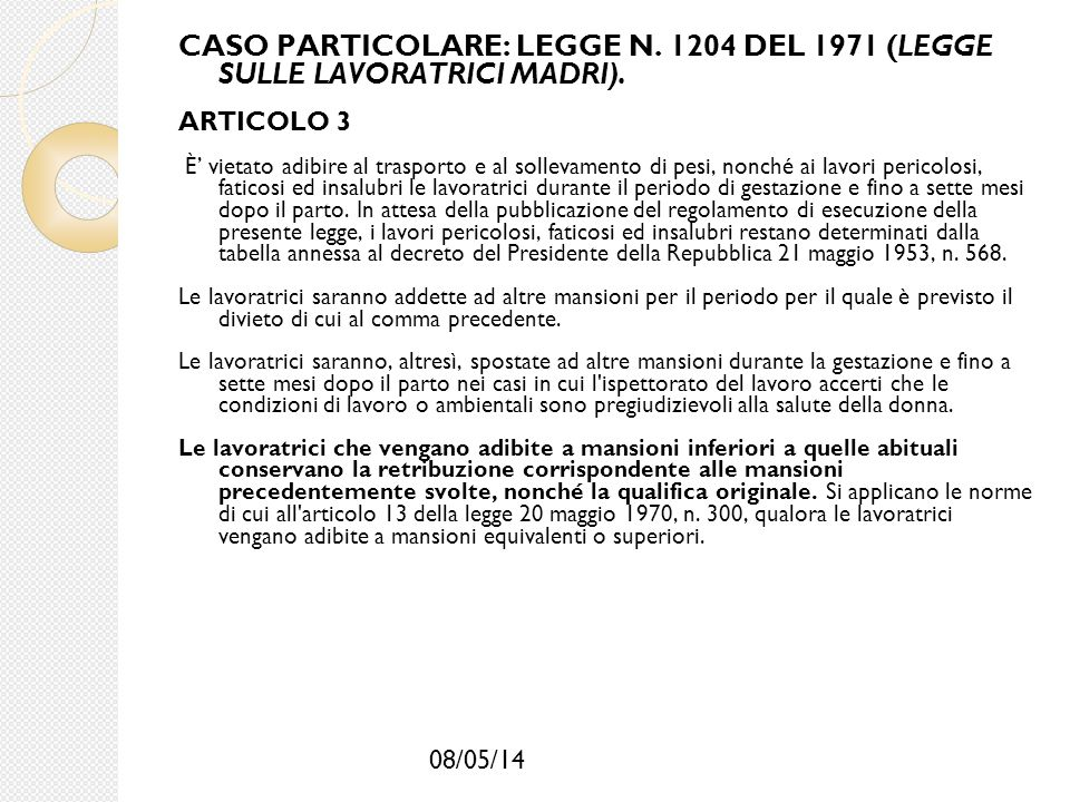 CASO PARTICOLARE: LEGGE N