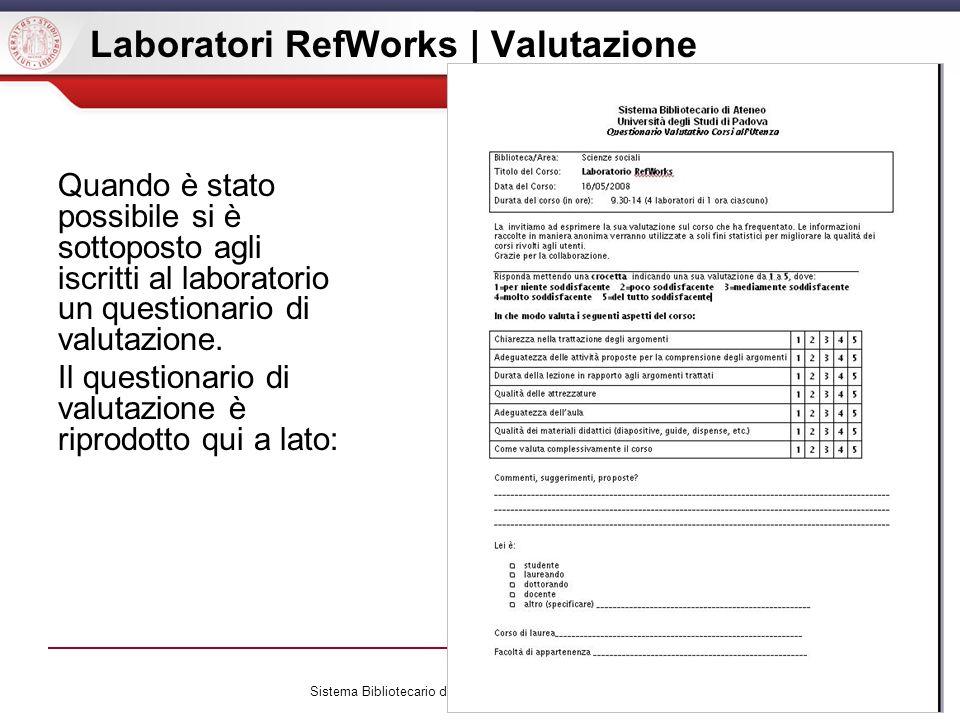 Laboratori RefWorks | Valutazione