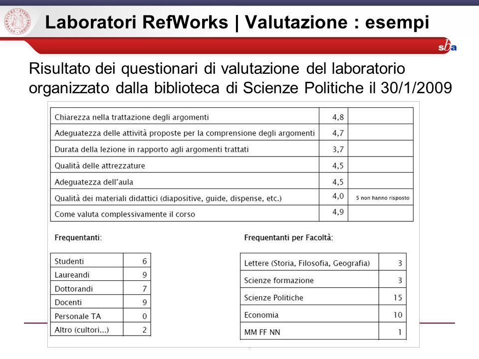 Laboratori RefWorks | Valutazione : esempi