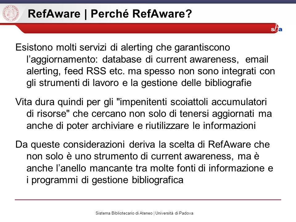 RefAware | Perché RefAware