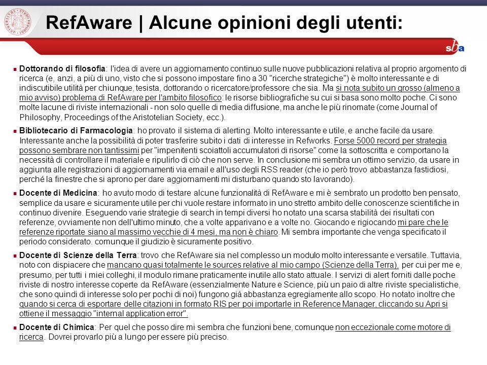 RefAware | Alcune opinioni degli utenti: