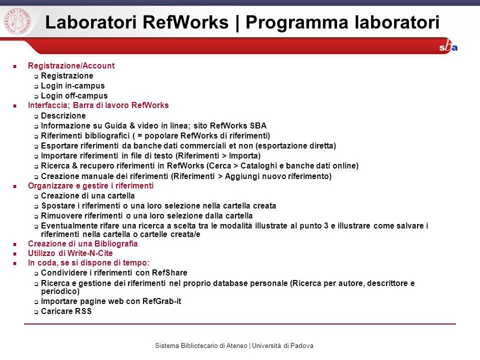 Laboratori RefWorks | Programma laboratori