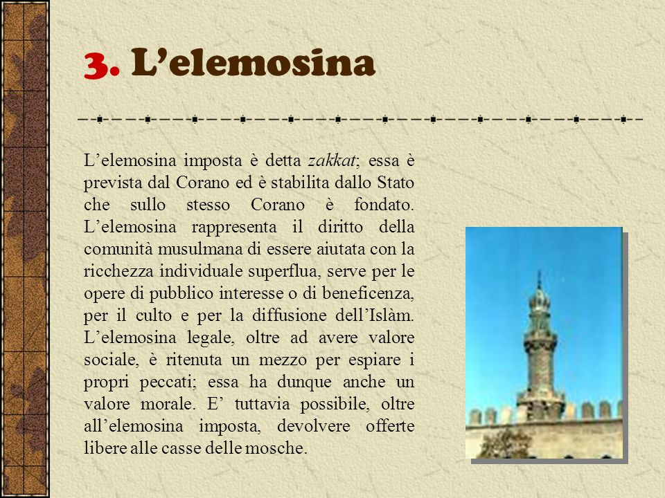 3. L'elemosina