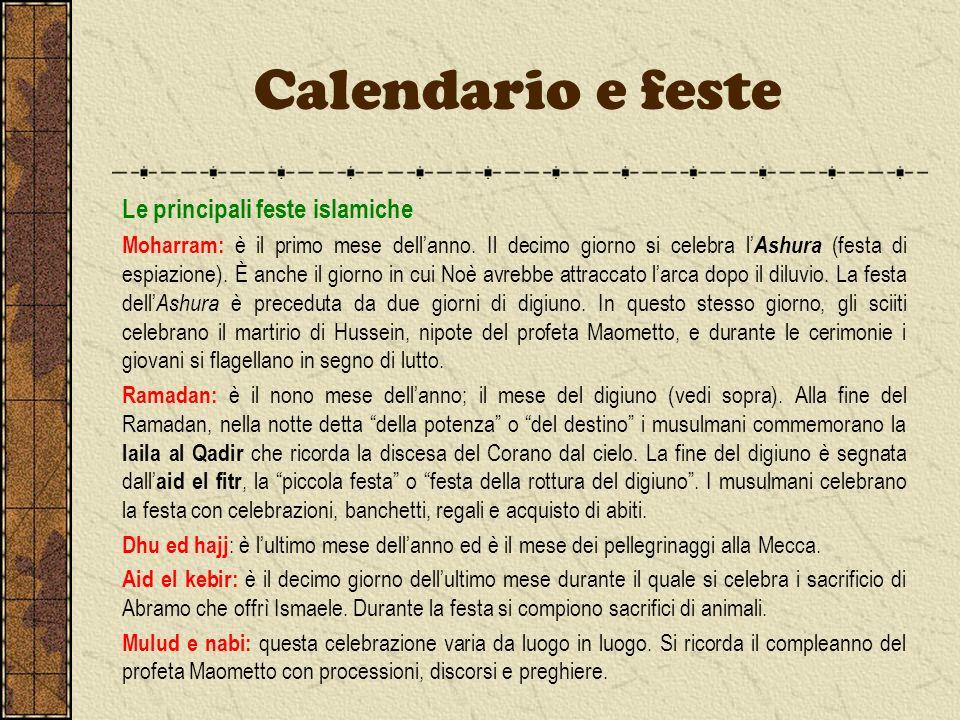 Calendario e feste Le principali feste islamiche