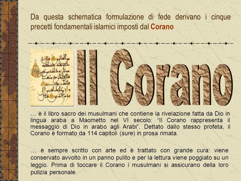 Da questa schematica formulazione di fede derivano i cinque precetti fondamentali islamici imposti dal Corano