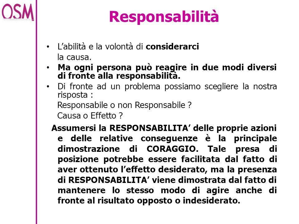 Responsabilità L'abilità e la volontà di considerarci la causa.