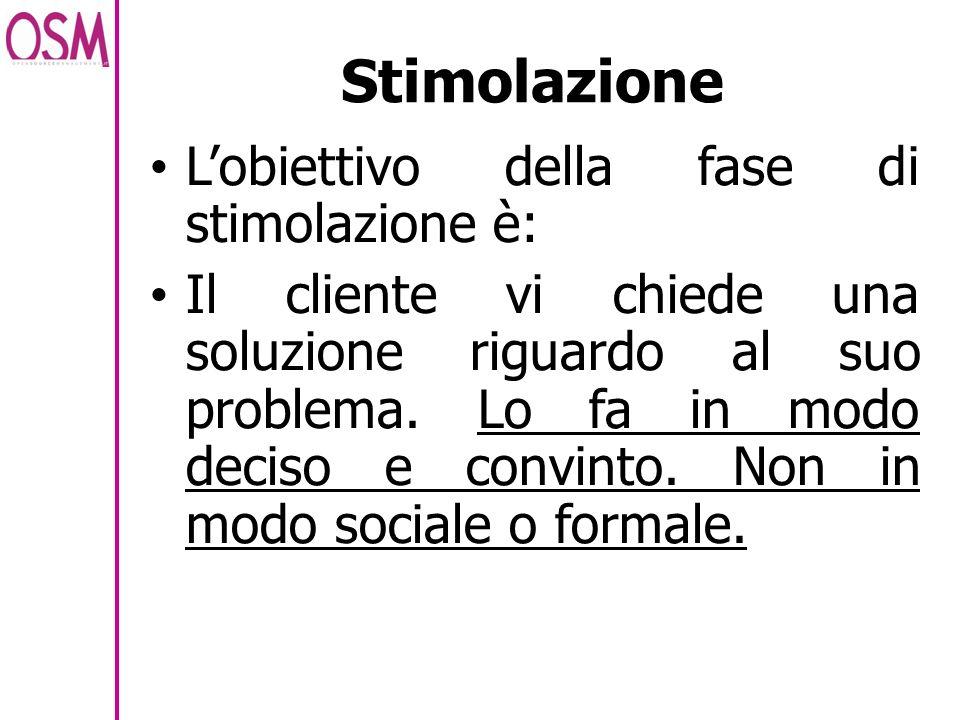 Stimolazione L'obiettivo della fase di stimolazione è: