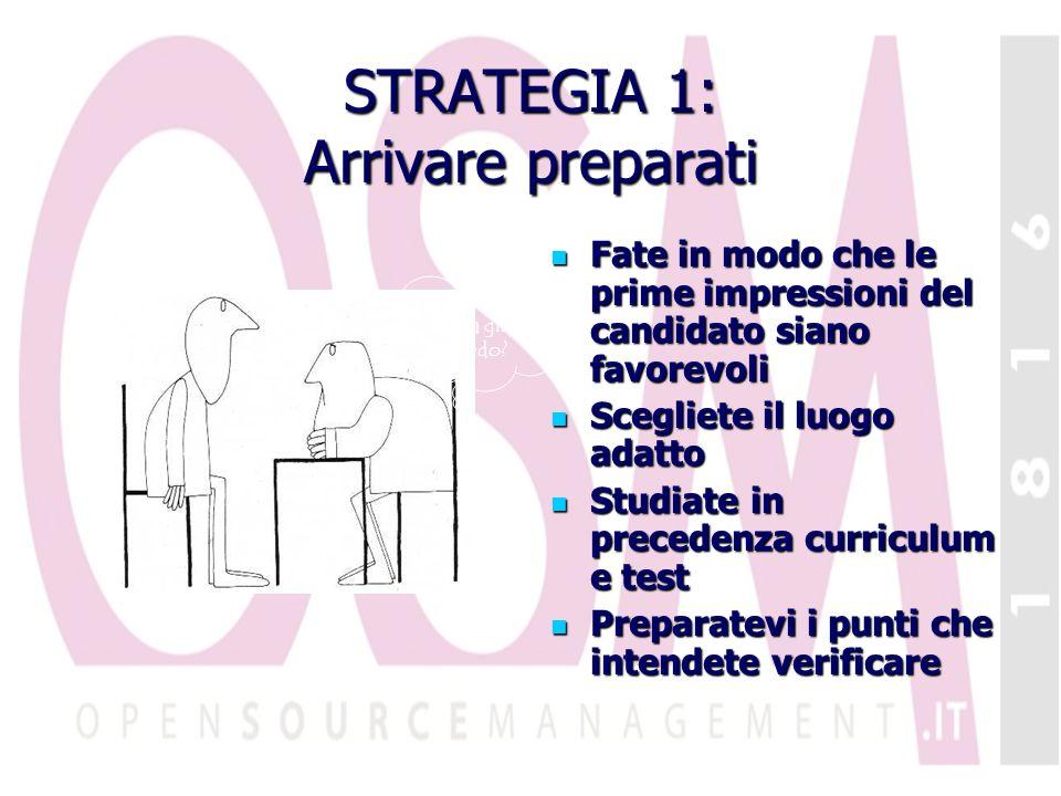 STRATEGIA 1: Arrivare preparati