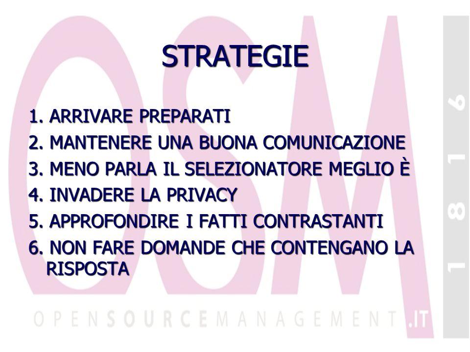 STRATEGIE 1. ARRIVARE PREPARATI 2. MANTENERE UNA BUONA COMUNICAZIONE