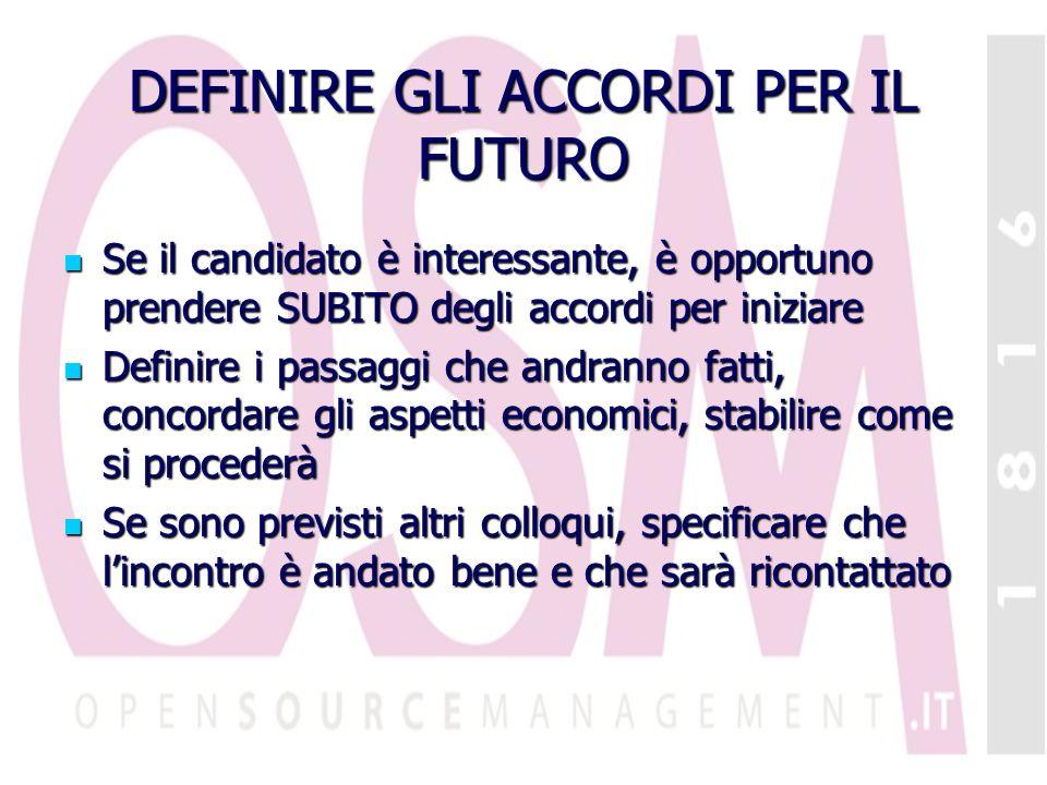 DEFINIRE GLI ACCORDI PER IL FUTURO