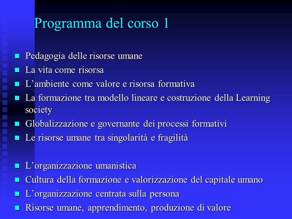 Programma del corso 1 Pedagogia delle risorse umane