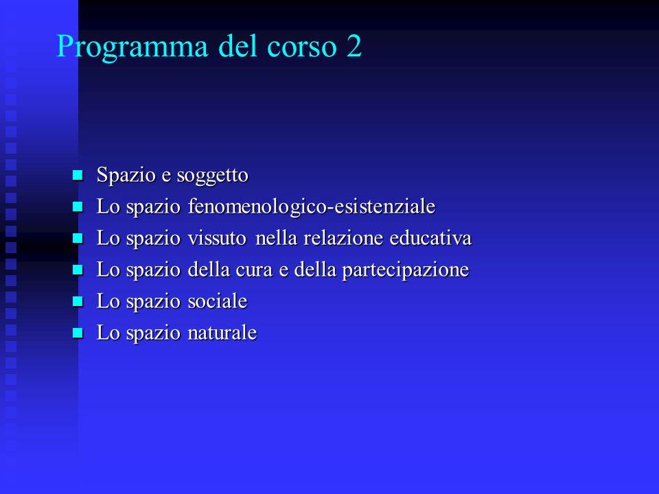 Programma del corso 2 Spazio e soggetto