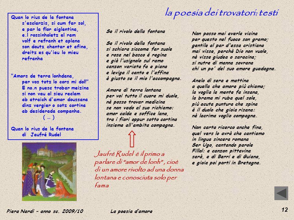 la poesia dei trovatori: testi