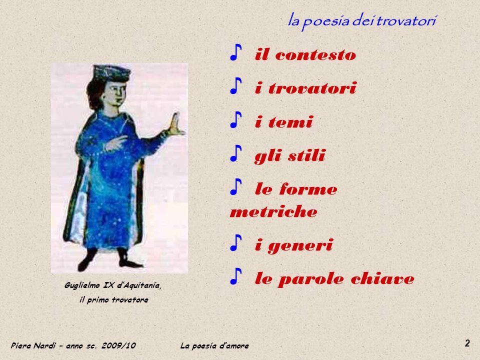 la poesia dei trovatori Guglielmo IX d'Aquitania,