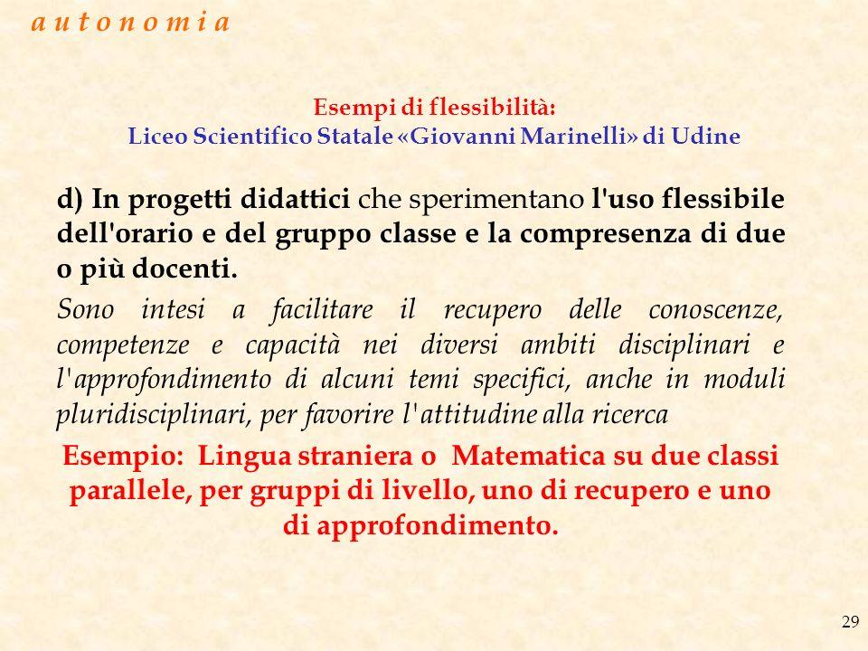 a u t o n o m i a Esempi di flessibilità: Liceo Scientifico Statale «Giovanni Marinelli» di Udine.