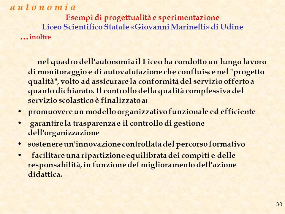 a u t o n o m i a Esempi di progettualità e sperimentazione Liceo Scientifico Statale «Giovanni Marinelli» di Udine.