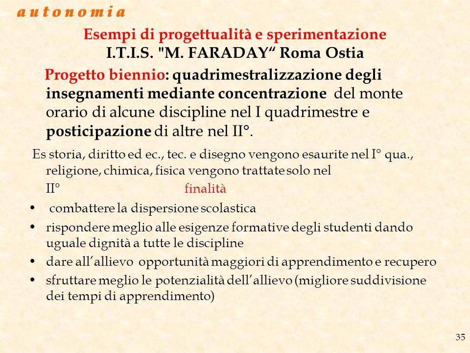 a u t o n o m i a a u t o n o m i a. Esempi di progettualità e sperimentazione I.T.I.S. M. FARADAY Roma Ostia.