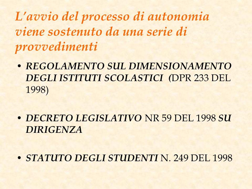 L'avvio del processo di autonomia viene sostenuto da una serie di provvedimenti