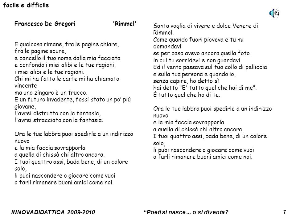 facile e difficile Francesco De Gregori Rimmel