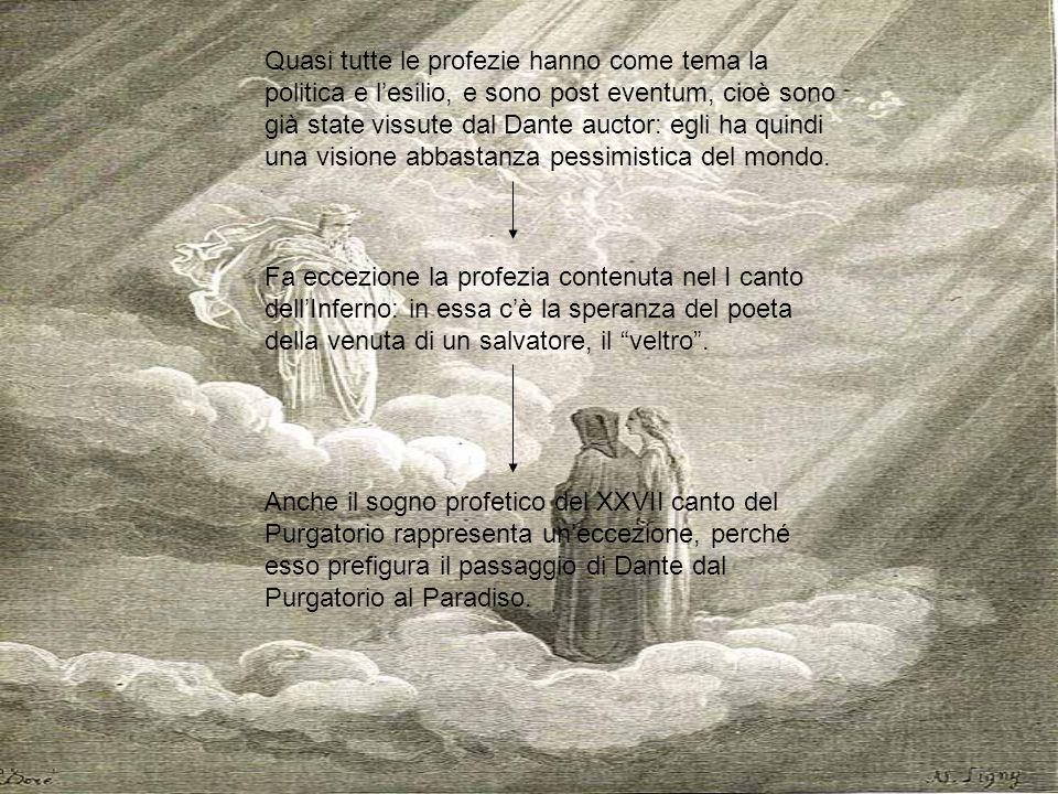 Quasi tutte le profezie hanno come tema la politica e l'esilio, e sono post eventum, cioè sono già state vissute dal Dante auctor: egli ha quindi una visione abbastanza pessimistica del mondo.