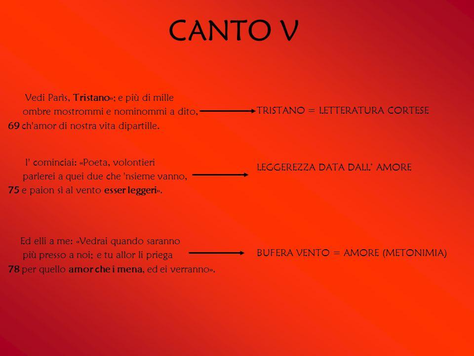 CANTO V TRISTANO = LETTERATURA CORTESE. LEGGEREZZA DATA DALL' AMORE. BUFERA VENTO = AMORE (METONIMIA)
