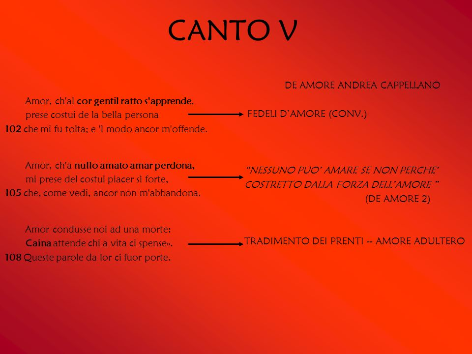 CANTO V DE AMORE ANDREA CAPPELLANO. FEDELI D'AMORE (CONV.) NESSUNO PUO' AMARE SE NON PERCHE' COSTRETTO DALLA FORZA DELL'AMORE
