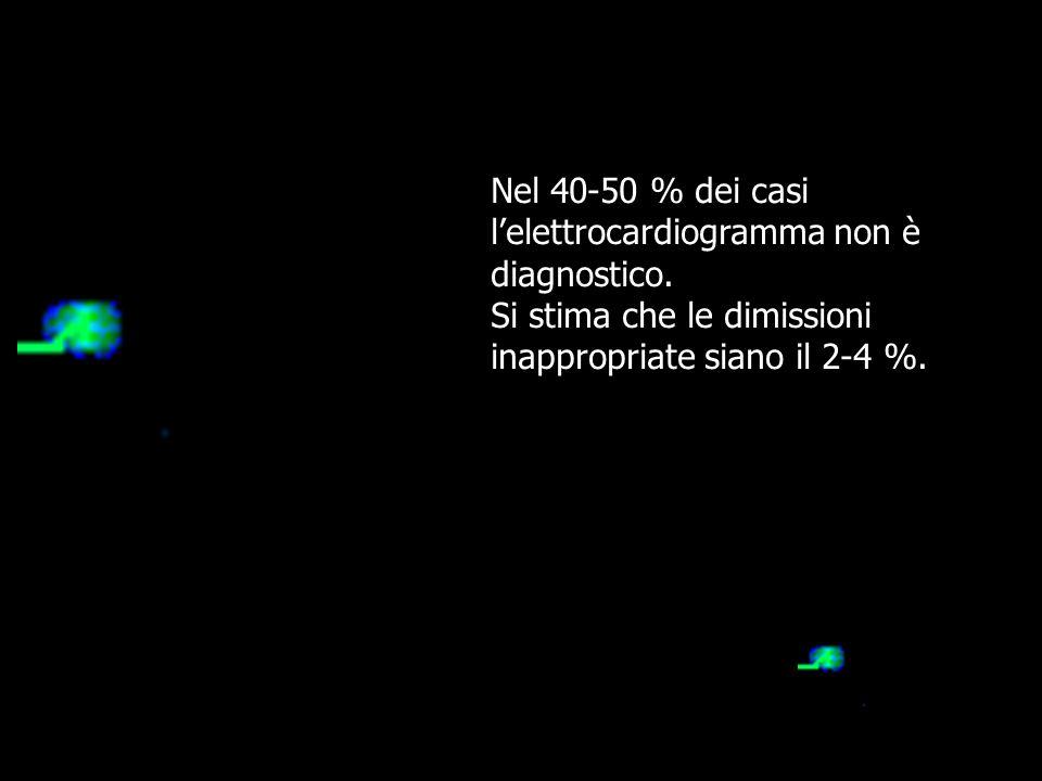 Nel 40-50 % dei casi l'elettrocardiogramma non è. diagnostico. Si stima che le dimissioni inappropriate siano il 2-4 %.