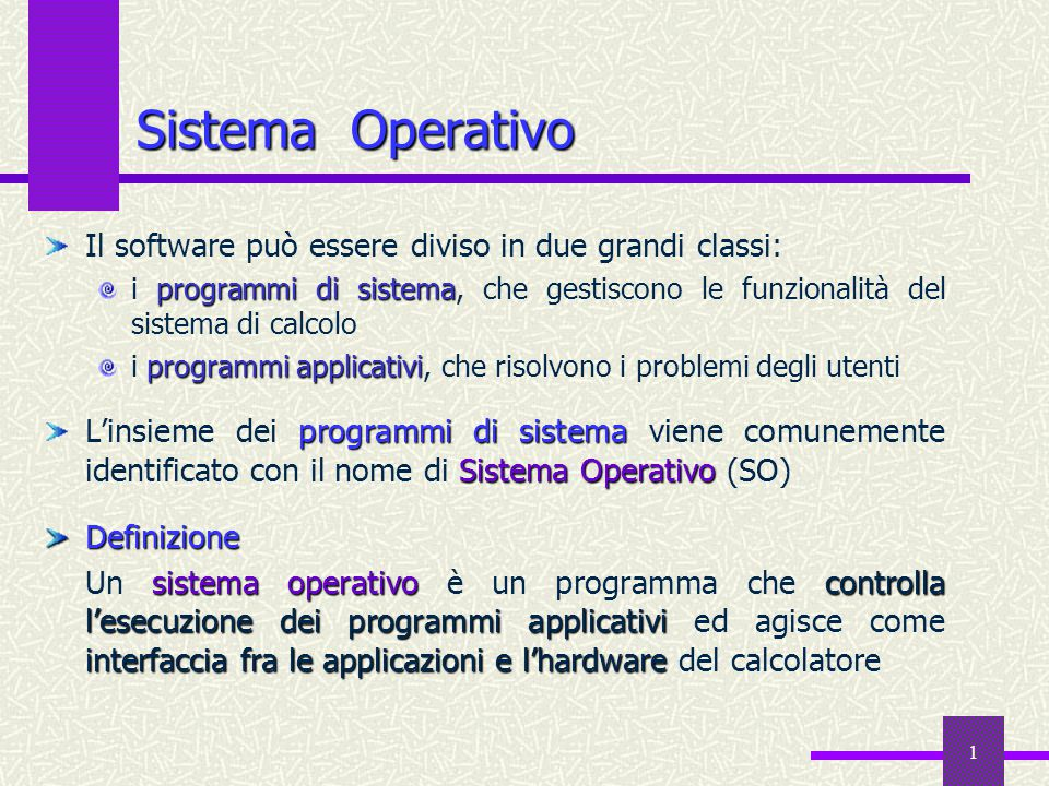 Sistema Operativo Il software può essere diviso in due grandi classi: