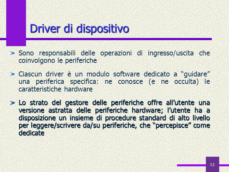 Driver di dispositivo Sono responsabili delle operazioni di ingresso/uscita che coinvolgono le periferiche.