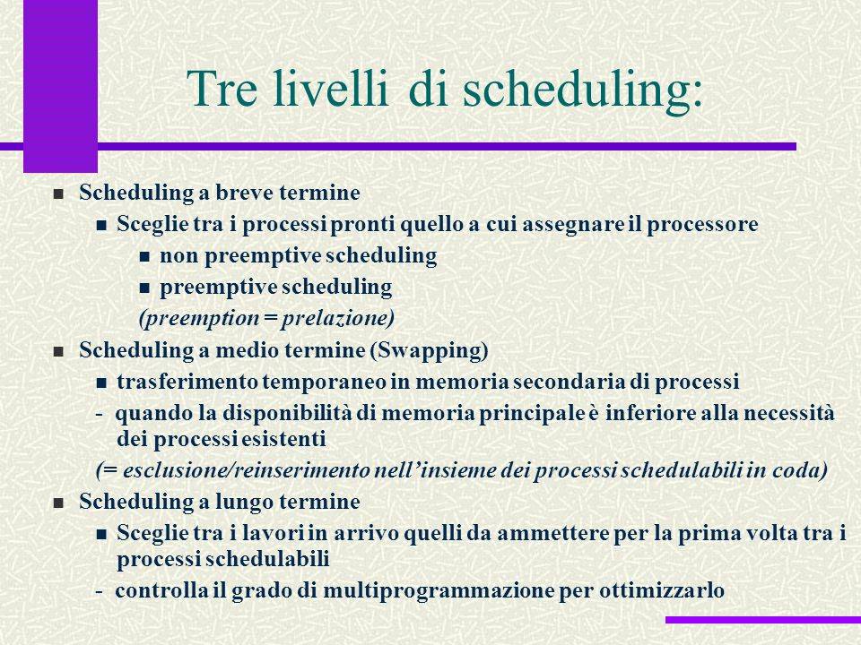 Tre livelli di scheduling: