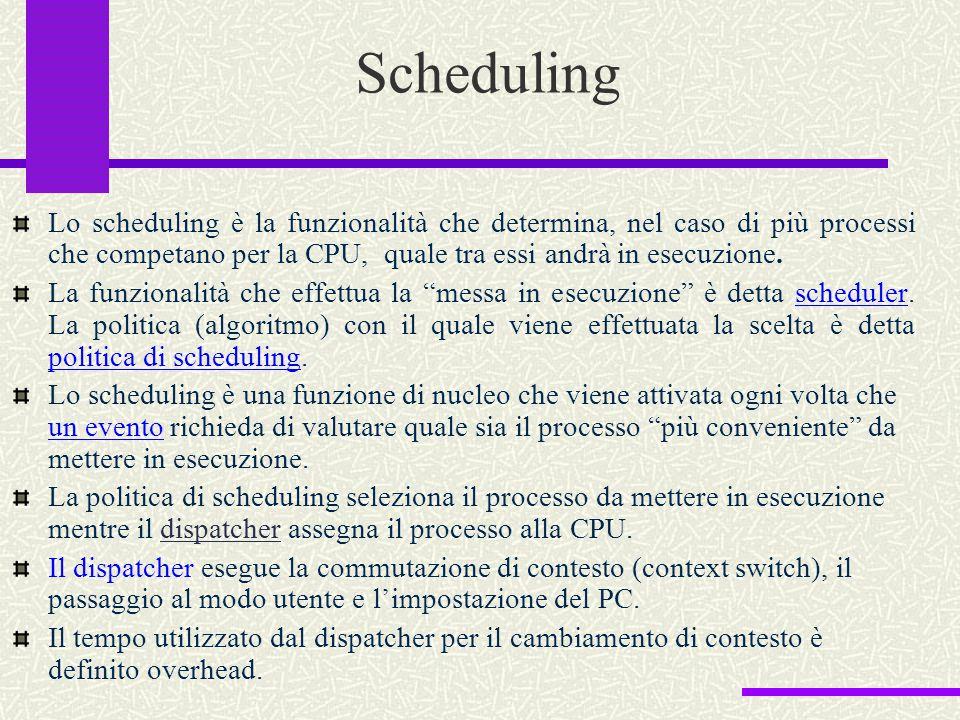Scheduling Lo scheduling è la funzionalità che determina, nel caso di più processi che competano per la CPU, quale tra essi andrà in esecuzione.