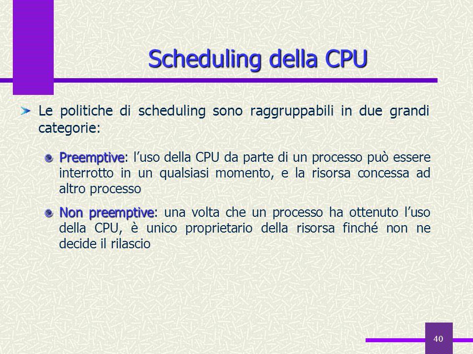 Scheduling della CPU Le politiche di scheduling sono raggruppabili in due grandi categorie: