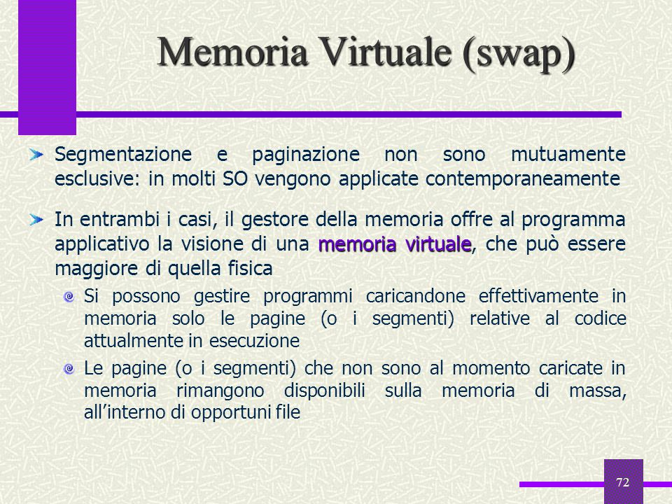 Memoria Virtuale (swap)