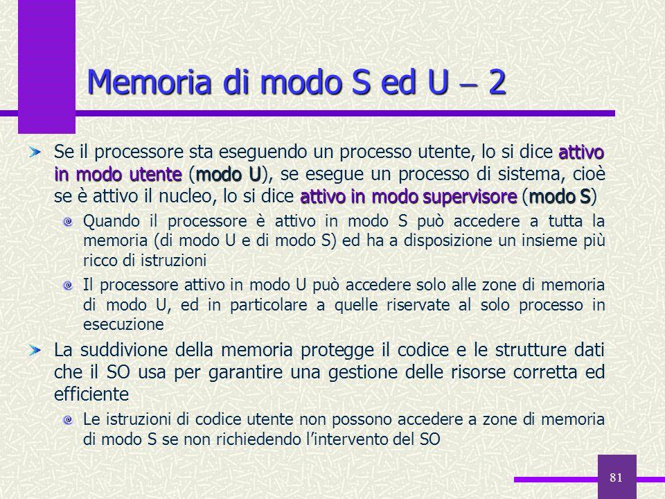 Memoria di modo S ed U  2